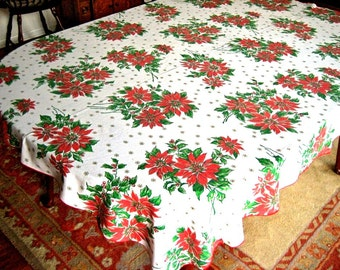 """Christmas Holiday Vintage Retro Holly Berries Big POINSETTIAS in TRIOS All Over 62"""""""