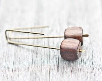 Modern Earrings Ebony Wood Cube Urban Minimalist Geometric Jewelry minimal chic organic eco friendly