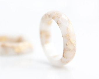 White Resin Stacking Ring Gold Flakes Small Faceted Ring OOAK french vanilla milk minimalist jewelry