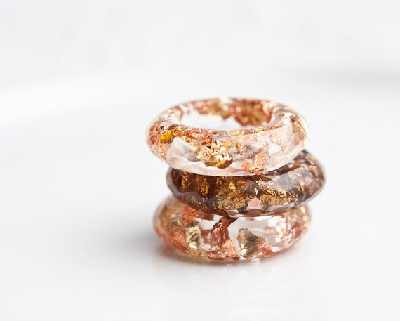 Resin Ring Yellow Pink Gold Flakes Small Faceted Cocktail Ring Size 6 OOAK brown boho minimalist jewelry rusteam