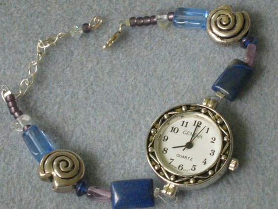 50% OFF   Blue and Purple Beaded Watch