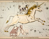 """Vintage Constellations Print """"Canis Major"""" - Unicorn and Dog Stars - Pastel Pale Blue Pink White - Zodiac Sky Whimsical Circus Art Print"""