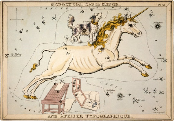 "Vintage Constellations Print ""Canis Major"" - Unicorn and Dog Stars - Pastel Pale Blue Pink White - Zodiac Sky Whimsical Circus Art Print"