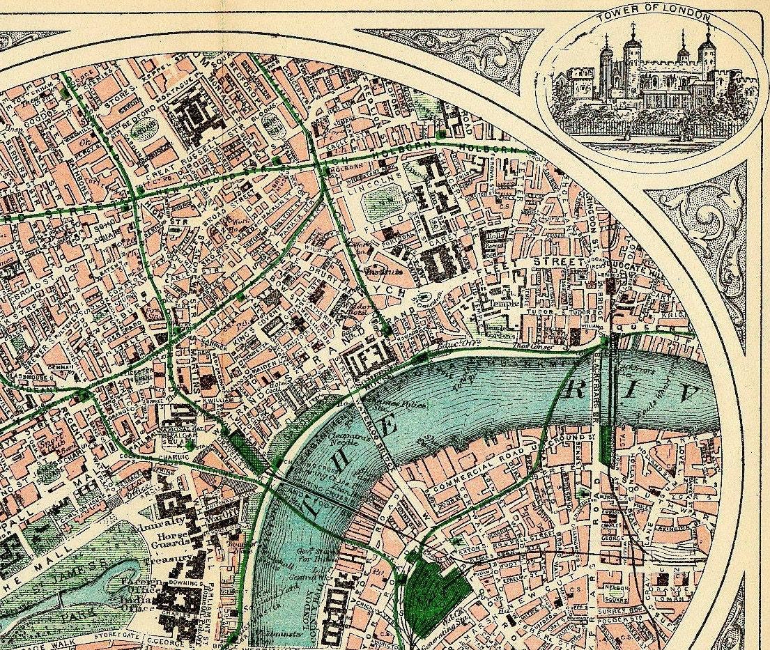 Antique Map: Antique London Map Travel Victorian London Antique