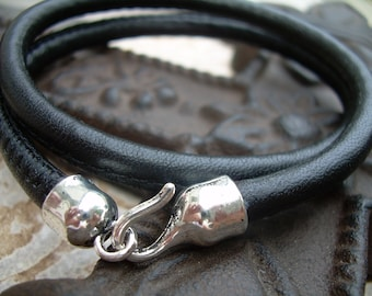 Mens, Womens, Black  Leather Bracelet ,Premium Stitched Nappa Leather, Double Wrap with Hook Clasp