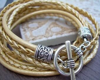 Womens  Leather Bracelet, Wrap Bracelet, Metallic Gold, Triple  Wrap, Triple Strands, Womens Jewelry, Womens Bracelet