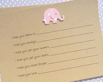 Baby Shower Games - Baby Wish Cards - Baby Advice Cards - Baby Shower Cards - Baby Elephant Cards - Kraft Wish Cards  BEWSH