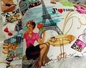 Vintage inspired Jaime Paris Pillow Pretty shoes handbags cafe Eiffeltower