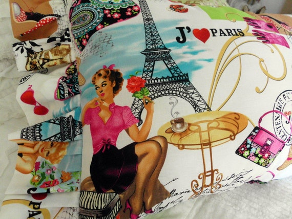 Vintage inspired Jaime Paris Pillow Pretty shoes handbags cafe Eiffeltower