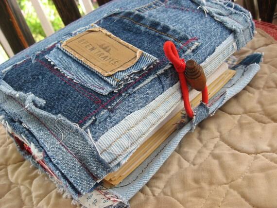 RESERVED listing CHUNKY junky recycled denim travel/ephemera journal/Book photo album handmade shabby