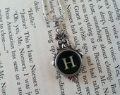 Vintage typewriter key necklace. Choose from A B C D E F G H I J K L M N O P Q R S T U V W X Y Z