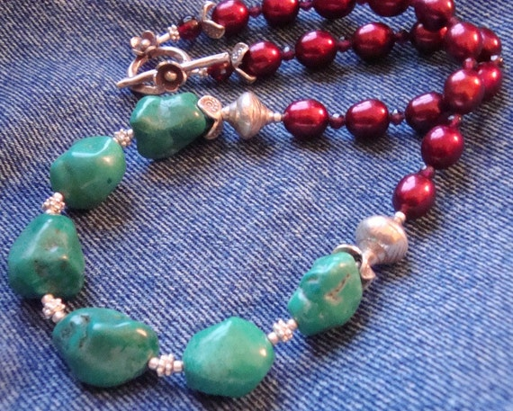 Boho Turquoise Necklace Green Turquoise Nugget Necklace Pearl Necklace Turquoise Beaded Necklace Turquoise Sterling Silver