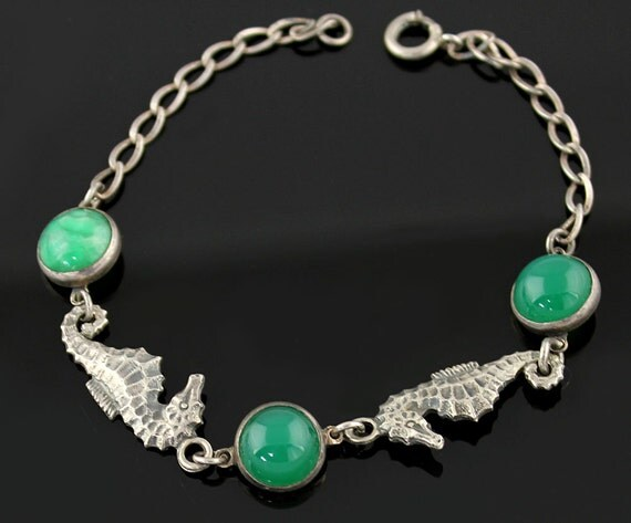 Deco Sterling Seahorse Bracelet