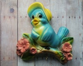 Tweet Tweet - Adorable Chalk Ware Birdie with Hook for Pot Holder or Apron - LittleCabinVintage