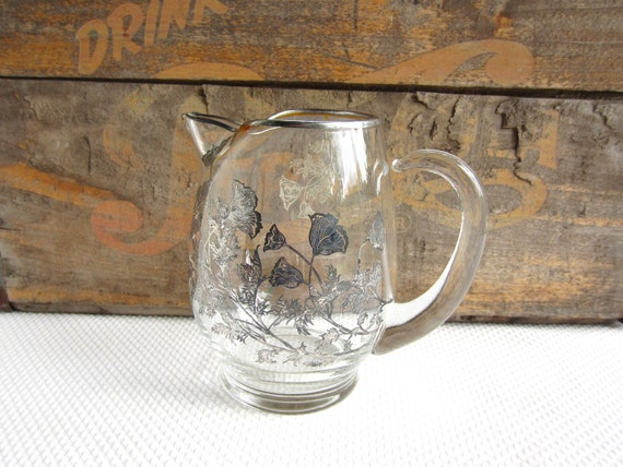Vintage Glass Pitcher With Silver Overlay Poppy By Corrnucopia