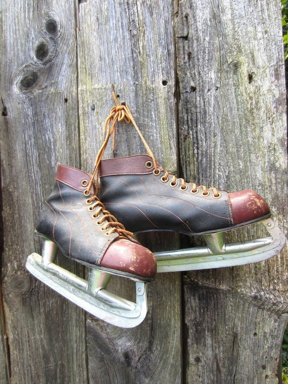 Vintage Ice Skates Mens Black and Brown Winter Home Decor