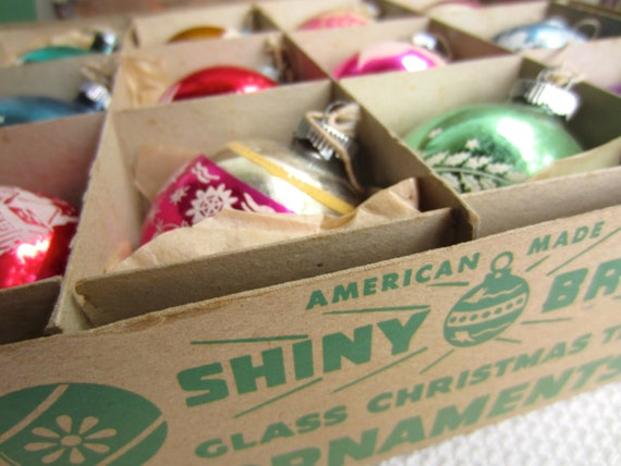 Vintage Box of Shiny Brite Decorated Glass Ball Christmas Tree Ornaments Original Box of 12