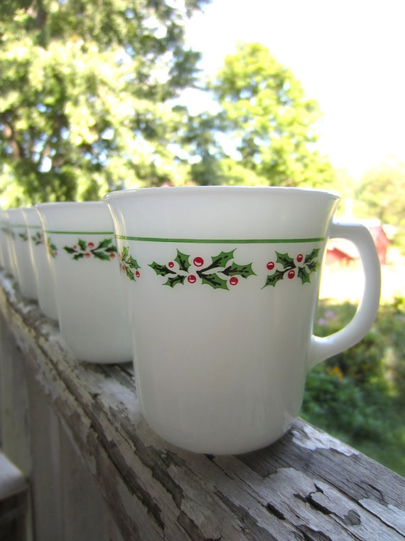 Vintage Holly Days Corning Milk Glass Mugs set of 8