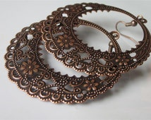 Floral Filigree Earrings,  Large,  Round,  Antiqued Copper,  Filigree,  Hoop,  Lacy,  Metal Filigree, Copper Dangle Earrings,  Gypsy Earring