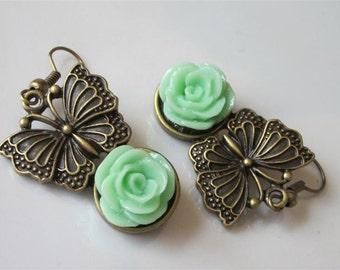 Butterfly Earrings, Spring Dangle Earrings, Antiqued Bronze Butterfly, Mint Green Rose, Flower Earrings, Green Wedding