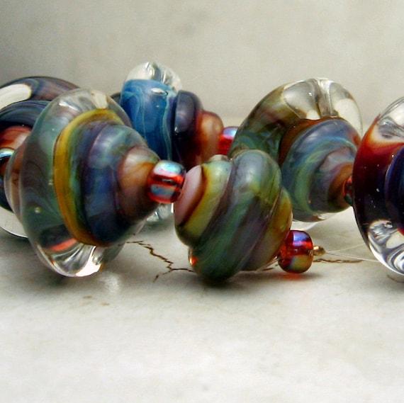 SRA Lampwork Glass Beads, Baroque Tie Dye Set of 7 - Blue Green Pink Purple