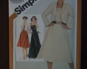 dress with short jacket sewing pattern Misses sleeveless pullover DRESS unlined jacket Simplicity 5318 size 14 sewing pattern 1981s
