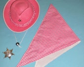 Pink wild west cowgirl hat, scarf, badge