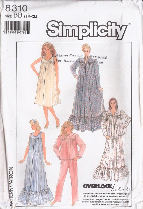 Misses Nightgown in Two Lengths, Robe, Bed Jacket and Pajamas, Simplicity 8310, Un-Cut