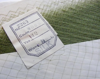 Vintage 1940's Silk Netting Veiling for Hats Veils or Dolls  12 Inches Wide Gorgeous Moss Green