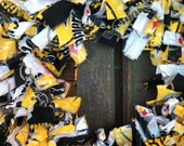 Steelers Pride rag wreath, hand-tied black, gold, and white wreath, 16 in