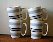 Vintage Pottery 4 English Striped Mugs Art Deco