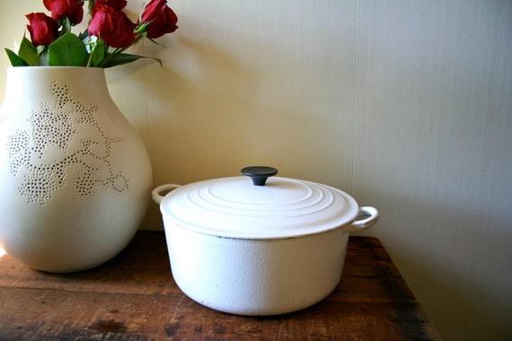 Vintage LeCreuset Dutch Oven Pan Le Creuset France Large White