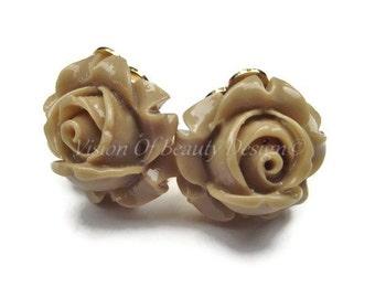 Spring Flower Clip On Earrings Mocha Rose