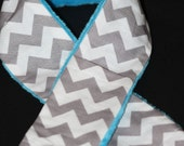 Camera Strap Slipcover Slip Cover Grey and White Chevron with Turquoise Minky  Free Lens Cap Pocket