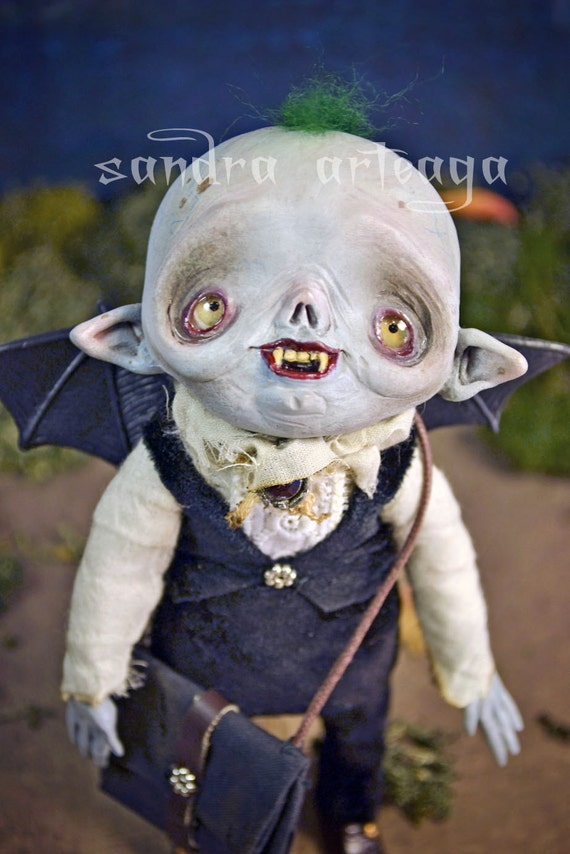 ON SALE - Timothy Greenred  - Art Doll Halloween sculpt vampire monsters ooak bat creature freak school trick or treat