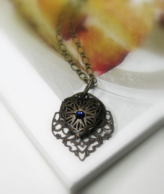 Heart Locket Pendant Necklace, Antiqued Brass, Sapphire Blue, Victorian Style, Filigree Vintaj Brass, Locket Necklace, Valentines Day