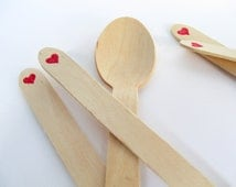 Red Heart Stamped Wooden Party Spoons Disposable and Compostable