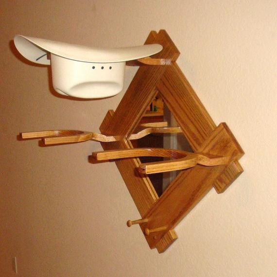 Items Similar To Oak Cowboy Western Hat Rack W Mirror Wall
