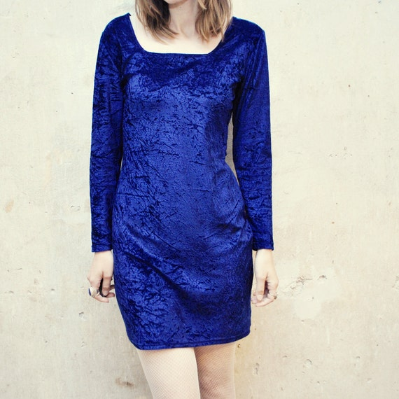 SALE...90s CRUSHED velvet dress in sapphire blue. bodycon dress - small, medium
