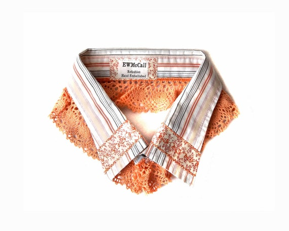 Detachable Striped Upcycled Cotton Collar with Salmon Lace for Women and Girls