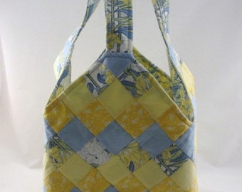 Large handmade patchwork tote bag mondo blue yellow
