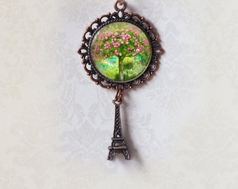 Rose Tree Photo Pendant - Monet's Garden, Antiqued Copper Filigree Charm - Gift Pendant -  Wearable Art