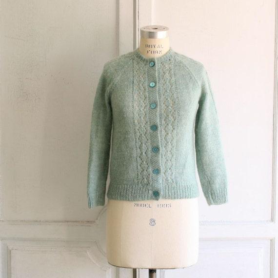 seafoam mint crochet cardigan sweater