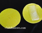 Bright Canary Yellow Fascinator Straw Hat base with attached Comb