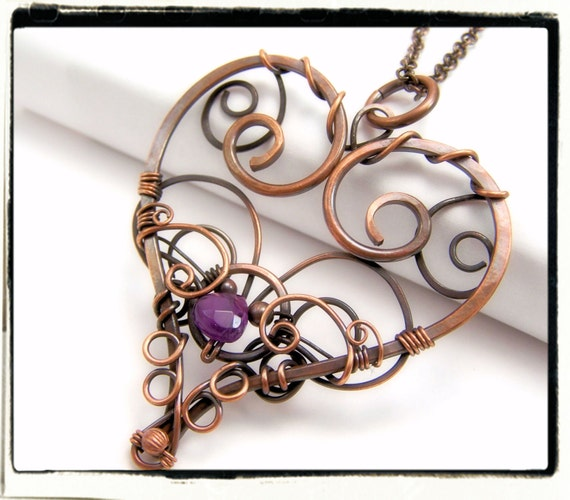 004 Filigree Heart Purple Amethyst Gemstone Wire Wrapped Antique Copper Pendant