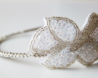 Snow White AB Beaded Floral Butterfly Wings on Rhinestones Silver Metal Hairband. Bling. Headband. Sparkles. Prom. Weddings