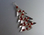 Sterling Silver Christmas Tree Garnet and Pearl Pendant or Ornament