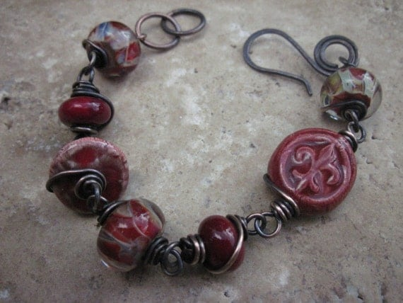 Bracelet Wire Wrapped in solid copper and Lampwork beads