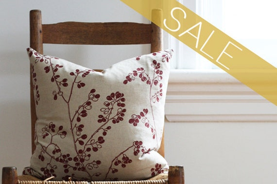 SALE red berry pillow cover