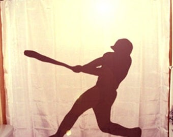 Baseball Shower Curtain Player Bathroom Decor for Kids